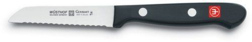 Wusthof Gourmet 3-Inch Serrated Paring Knife by Wusthof. $18.95. Stamped from high-carbon steel with a stain-resistant alloy. Measures approximately 7 by 1 by 1/2 inches; limited lifetime warranty. 3-inch serrated paring knife functions as a bar knife for cutting lemons and limes. Precisely tapered from base to tip; made in Germany; hand wash for best results. Synthetic polypropylene handle double riveted for durability. A useful addition to any at-home bar, this 3-inch paring k...