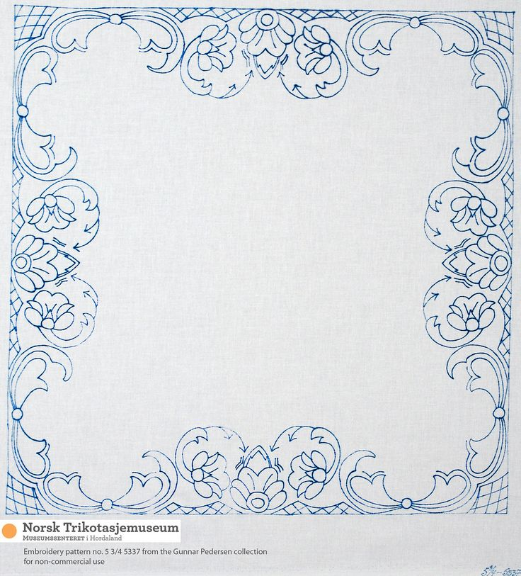 https://flic.kr/p/9Uiq7R | Placemat/brikke IX | A selection of embroidery patterns from our collection of Gunnar Pedersen patterns. Some of the patterns in this collection came from the former embroidery company Azora Gjertsen. These are for small square tablecloths or placemats (original size 50-65 cm), . The images in this set are photographs of transfers in blue ink onto white fabric, which causes certain irregularities in the lines where the ink has not transferred onto the fabric…