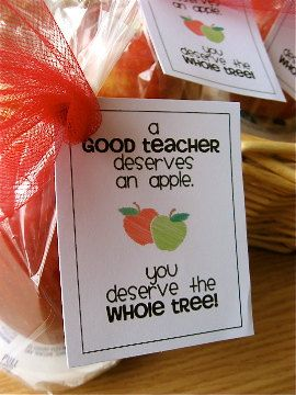 Teacher gift idea - wrap an apple an a single serving of caramel dip in cellophane and attach card