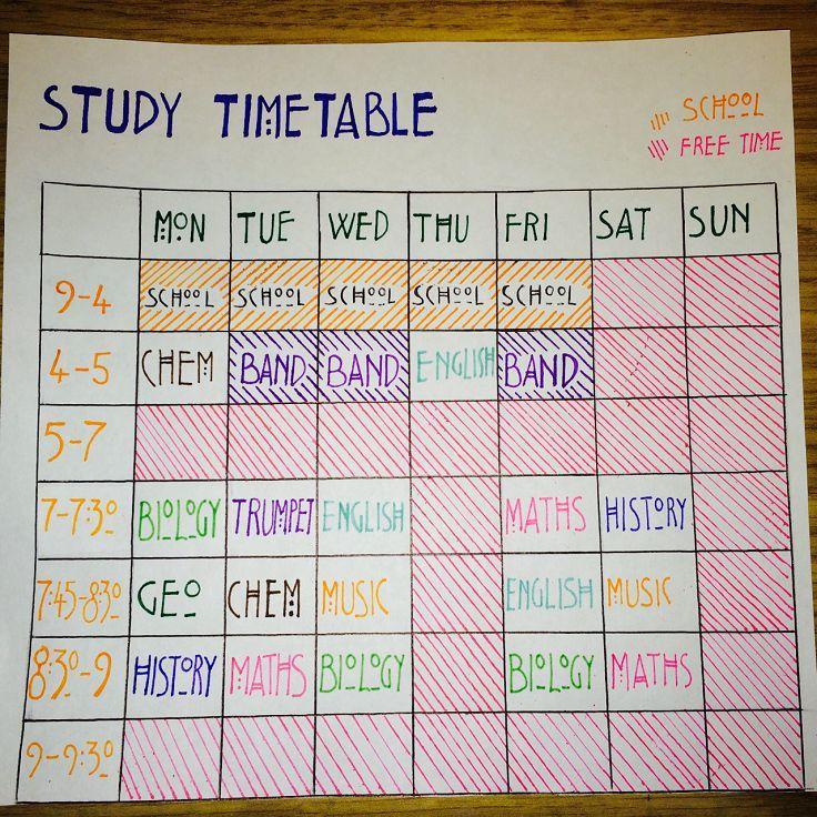 Stundenplan studieren, um sicherzustellen, dass Sie jedes Ihrer Fächer überarb…