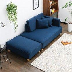 ワンルームにも置ける贅沢カウチソファ!座面が広いので寝転んでベッド代わりにしても◎!ポケットコイルで身体にフィット。オットマン付きで足先までラクラク♪