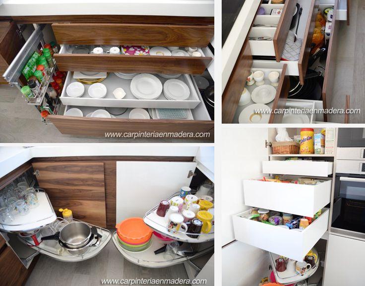 Estudiamos cuidadosamente el espacio de almacenaje de su cocina a medida para aprovecharlo al máximo. http://carpinteriaenmadera.com/cocinasamedida.html