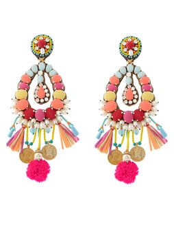 Multi Big Beaded Clip-On Earrings