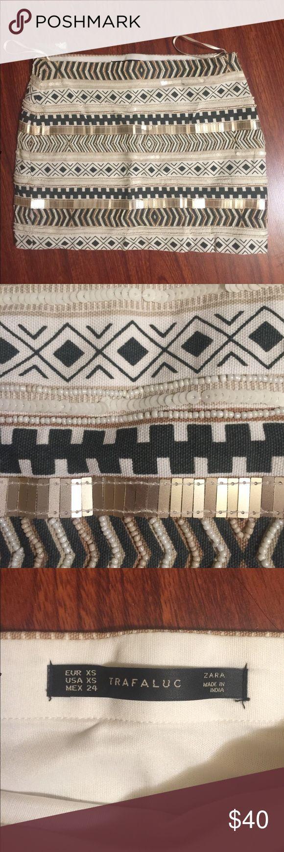 Brand New Zara Sequin Aztec Mini Skirt Never worn. New with tag. Original price is $79.90 Zara Skirts Mini