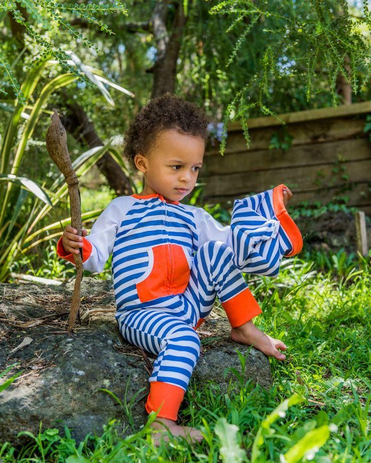 King Of The hill  French Blue Stripe Zip Romper Newborn - 24 months Li'l Zippers AW15