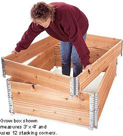 Raised-Bed Grow-Box Corners. Love them, but it does make a four tier box pretty pricey...