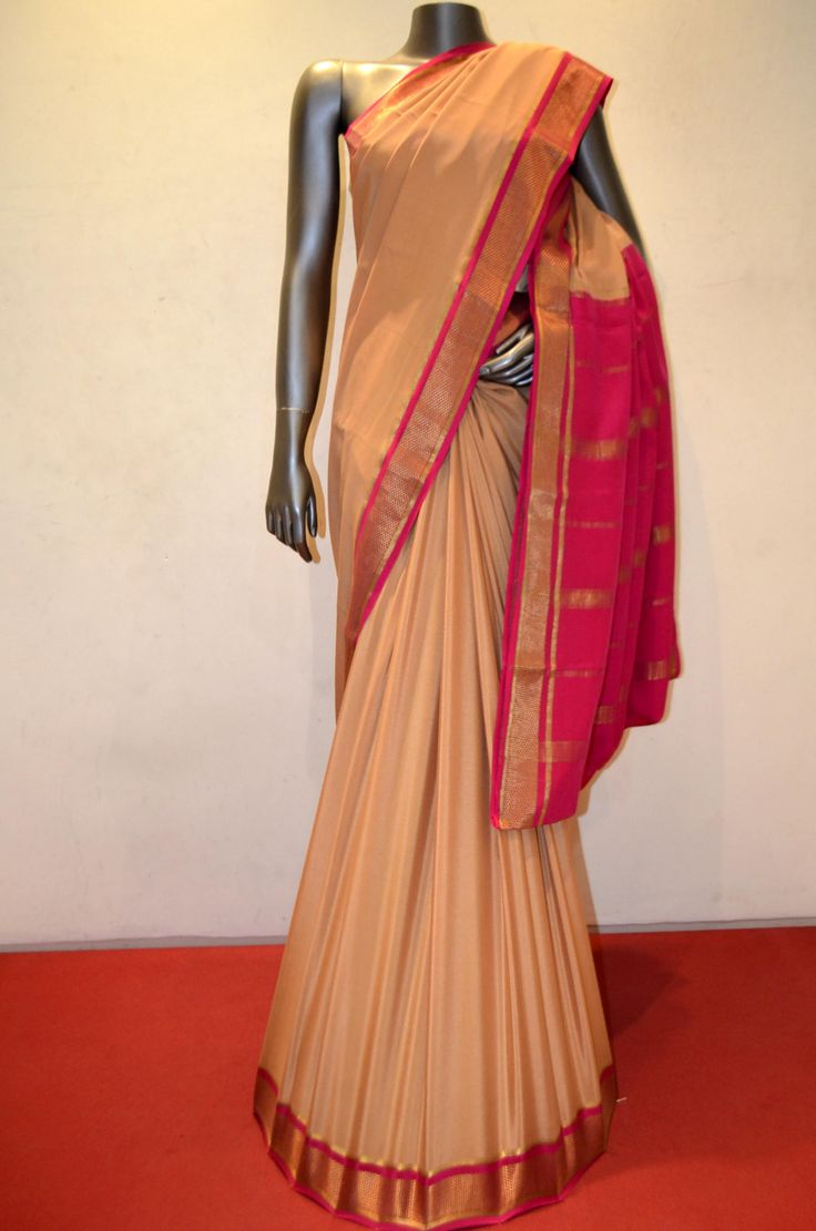 Traditional Heavy Pure Mysore Crepe Silk Saree With Contrast Border Product Code: AC210487