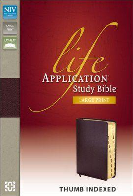 NIV Life Application Study Bible, Large Print, Bonded Leather, Burgundy, Thumb Indexed