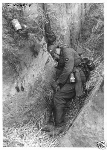 This is most likely the first photo of a KIA in World War II. This German soldier was killed on the first day of the German invasion of Poland, September 1, 1939, precisely at Hill 179, near Chojnice.