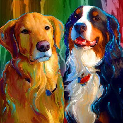 Bernese Mountain Dog Golden Retriever Art Portrait Pet Portraits by Rebecca Collins