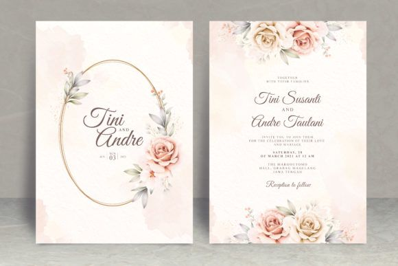 Floral Watercolor Wedding Card Theme Graphic By Stwstudio Creative Fabrica Wedding Invitation Card Template Floral Wedding Invitation Card Watercolor Wedding Invitations