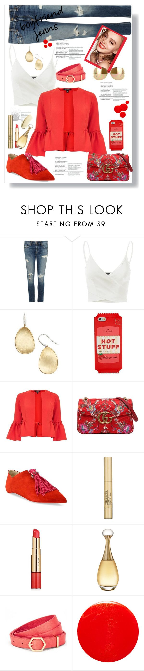 """""""boyfriend jeans"""" by valerie-42 ❤ liked on Polyvore featuring rag & bone/JEAN, Doublju, Marco Bicego, Kate Spade, Topshop, Naomi Campbell, Gucci, Christian Louboutin, Victoria Beckham and Estée Lauder"""