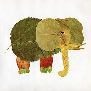 awesome leaf elephant.. make animals out of leaves and sticks you find outside! Great craft for any kid
