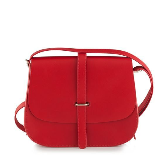 nubuck leather, leather lining, adjustable shoulder strap, inside pocket, nubuck leather bags AGATA 26 ROSSO, bags, leather handbags