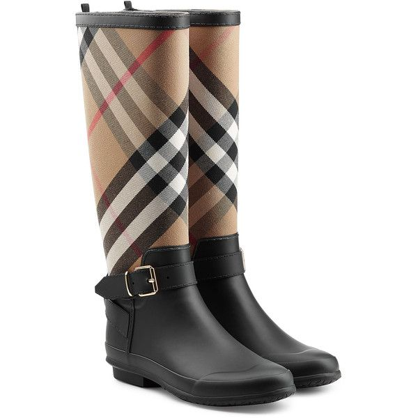 Burberry Rain Boots ($269) ❤ liked on Polyvore featuring shoes, boots, black, wellington rubber boots, black wellington boots, kohl shoes, wellington boots and wellies rubber boots