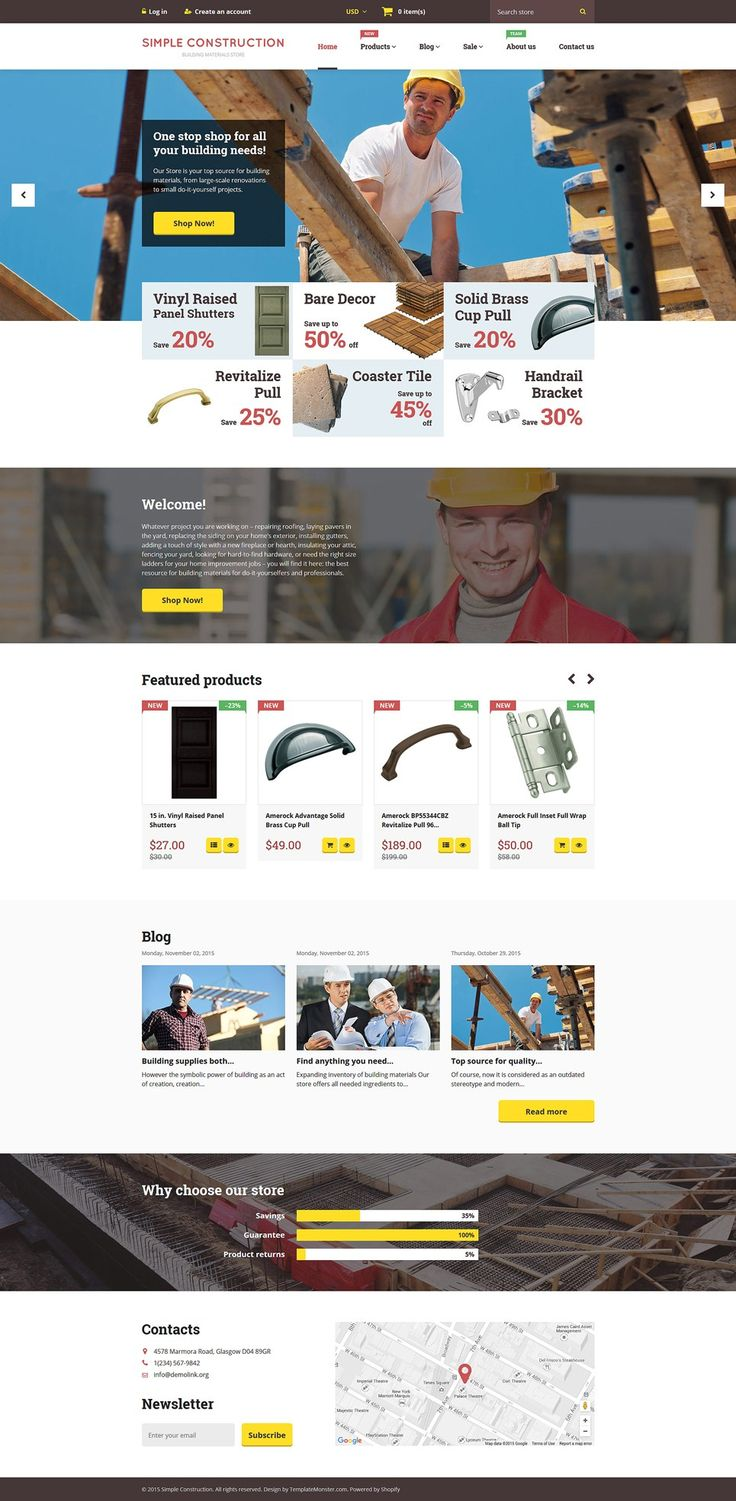 The Best Home Repair, Contractor & DIY Store Themes for Shopify - Simple Construction Store (website theme) Item Picture