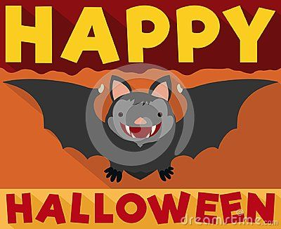 Poster with cute smiling bat in flat style with long shadow effect for Halloween celebration.