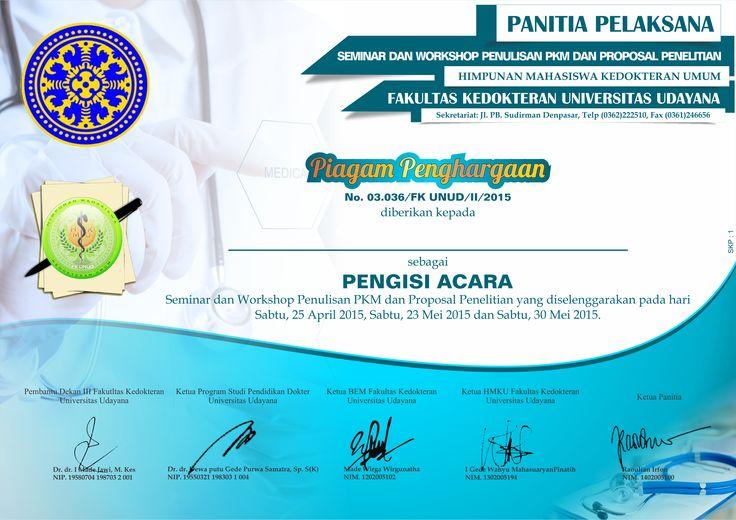 Desain Sertifikat Fak. Kedokteran, Univ. Udayana Denpasar, Bali