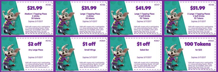 Chuck E Cheese's printable coupons February 2017 and March 2017 for tokens, food, drink discounts, win FREE Chuck E Cheese's tickets with online games.