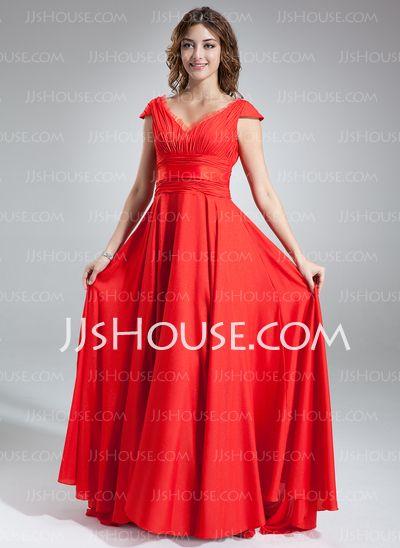 Bridesmaid Dresses - $129.99 - A-Line/Princess V-neck Sweep Train Chiffon Tulle Bridesmaid Dress With Ruffle (007016838) http://jjshouse.com/A-Line-Princess-V-Neck-Sweep-Train-Chiffon-Tulle-Bridesmaid-Dress-With-Ruffle-007016838-g16838