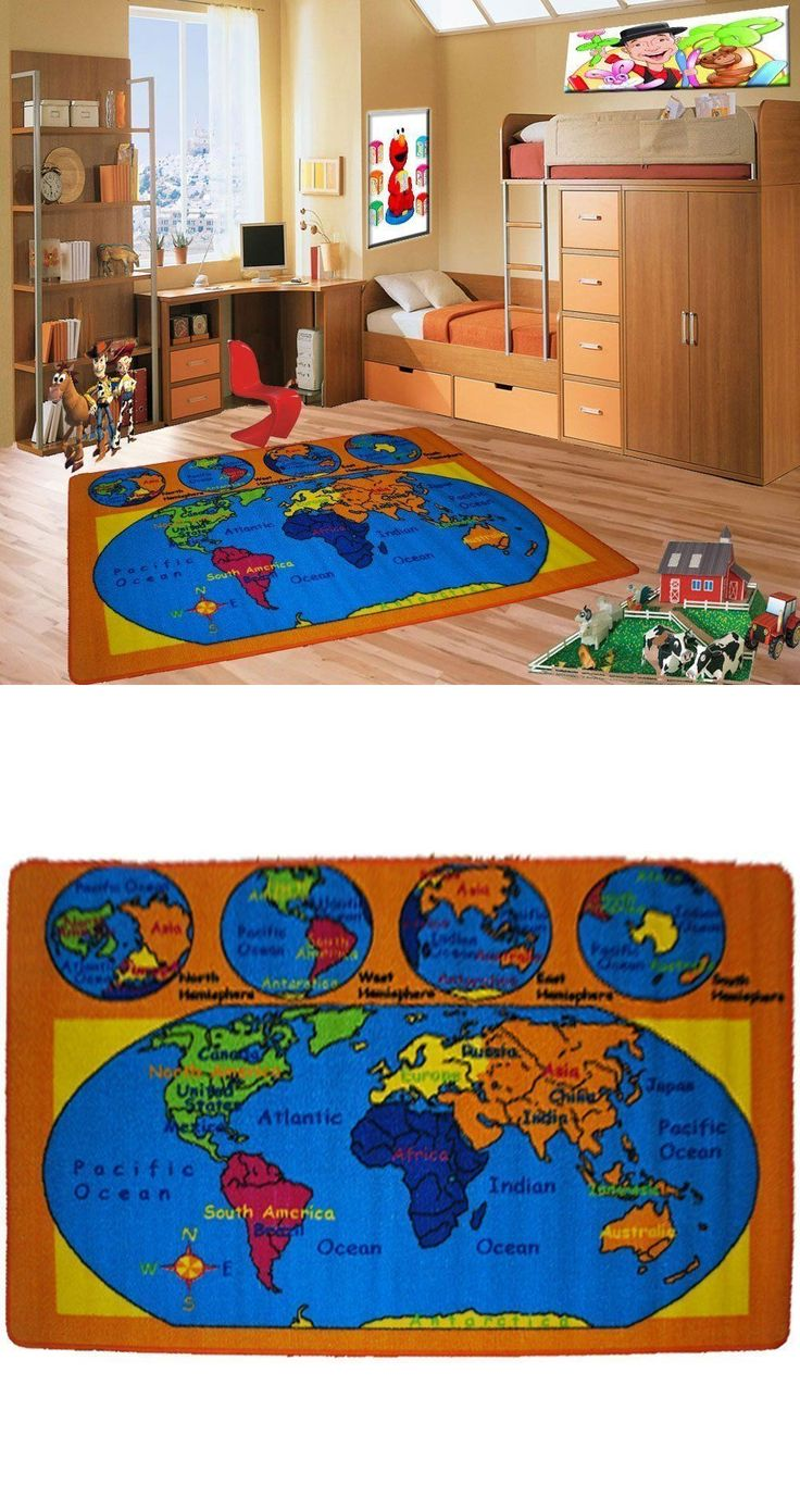 Rugs 154001: World Map Kids Area Rug 3 X 5 Children Earth Carpet - Non Skid Gel Backing -> BUY IT NOW ONLY: $33.32 on eBay!
