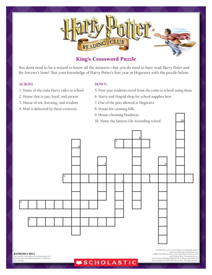 TEST YOUR KNOWLEDGE: Complete the King's Crossword Puzzle! Download by clicking the image above! For more activities visit www.scholastic.com/hpreadingclub #HarryPotter #HPread