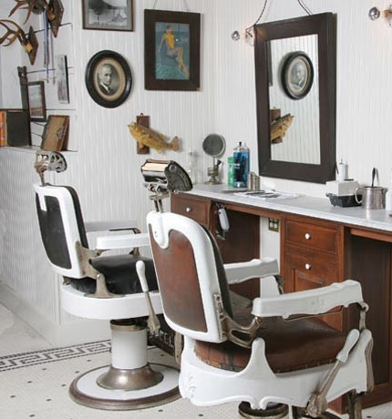 vintage barber shop- love this!  Bead board walls and tile floor.