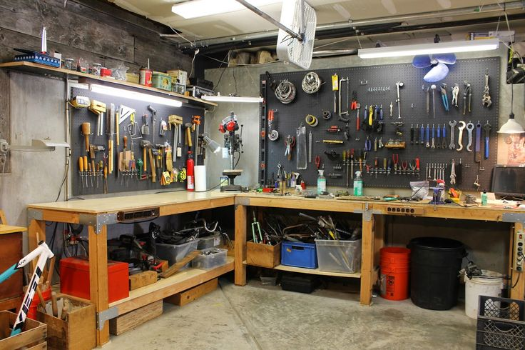 L Shaped Garage Workbench With Pegboard Tool Storage The