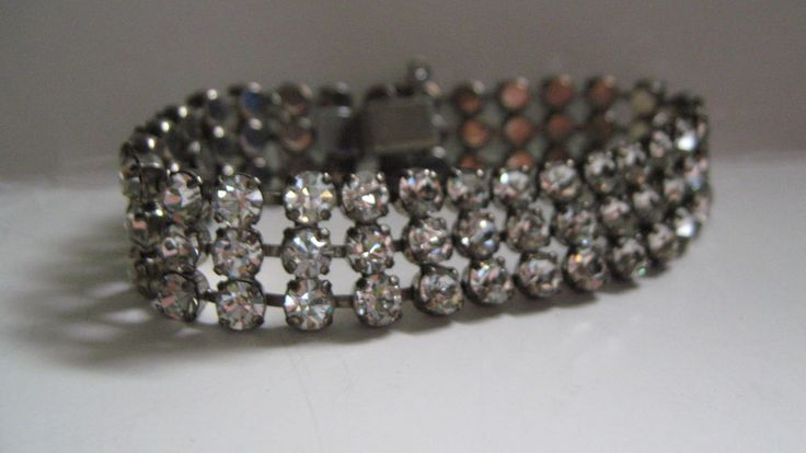 Vintage Jay Flex Sterling 3 Row Rhinestone Clear Color Bracelet | eBay