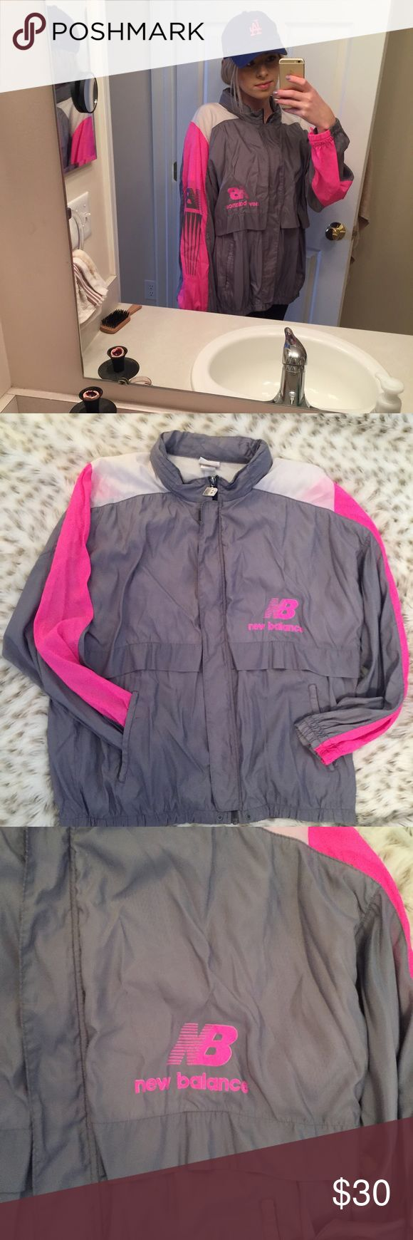Vintage New Balance Windbreaker pink and gray Vintage new balance windbreaker! Pink, gray, and white! Size large! So cute!!! In great condition!! No stains! New Balance Jackets & Coats