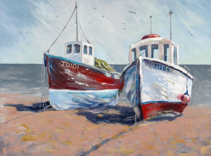 Old boats at Beer, Devon Giclee prints for sale at www.traceypacitti.com