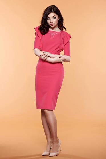 Rochie cu volanase LaDonna roz cu aplicatii cu margele - http://hainesic.ro/rochii/rochie-cu-volanase-ladonna-roz-cu-aplicatii-cu-margele-d7499a571-starshinersro/