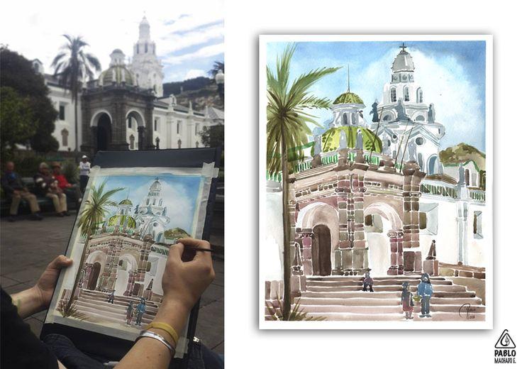 Pintando en la Plaza grande Técnica: Acuarela  Dimensiones: 28 x 35 cm