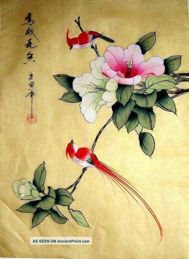 Japanese Bird Paintings | Japanese Hand Painted Painting Bamboo & Bird @411 Paintings & Scrolls ...