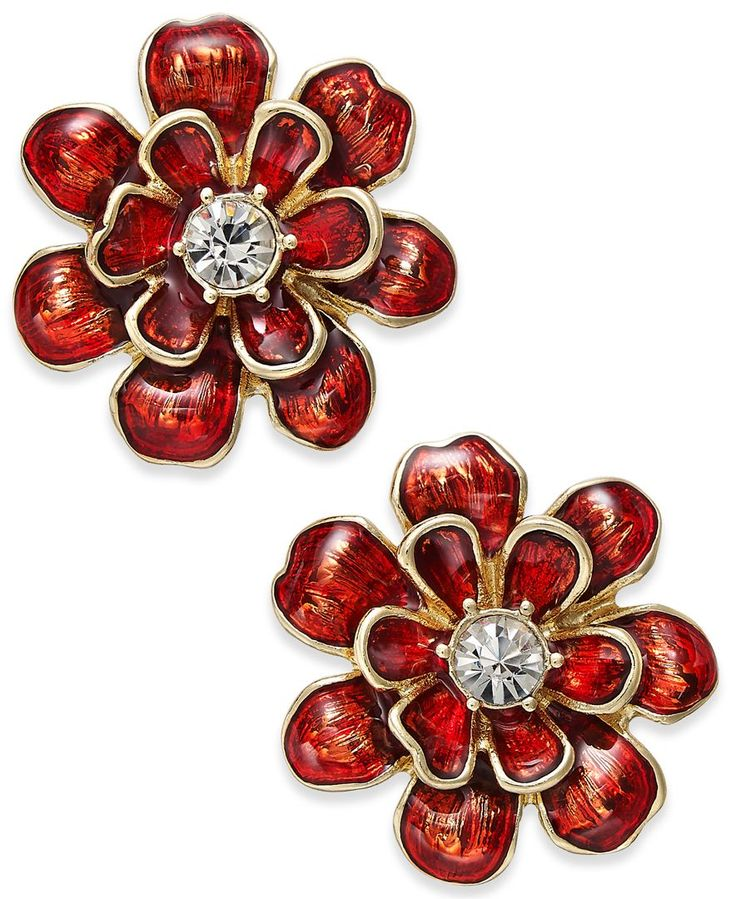 Erwin Pearl Atelier for Charter Club Gold-Tone Red Enamel Flower Earrings, Only at Macy's