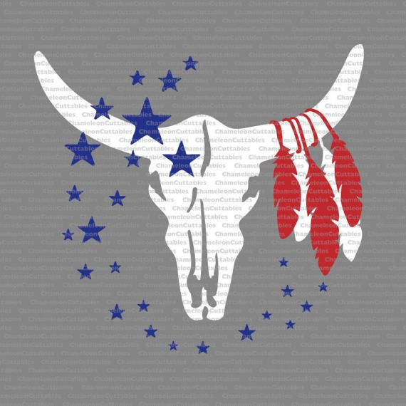 cow skull with feathers and stars, svg, bull, 4th of July, America, boho, USA, country, texas, silhouette, cut, file, vector, decal, design
