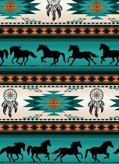 Dreamcatcher Horses - Turquoise Fabric