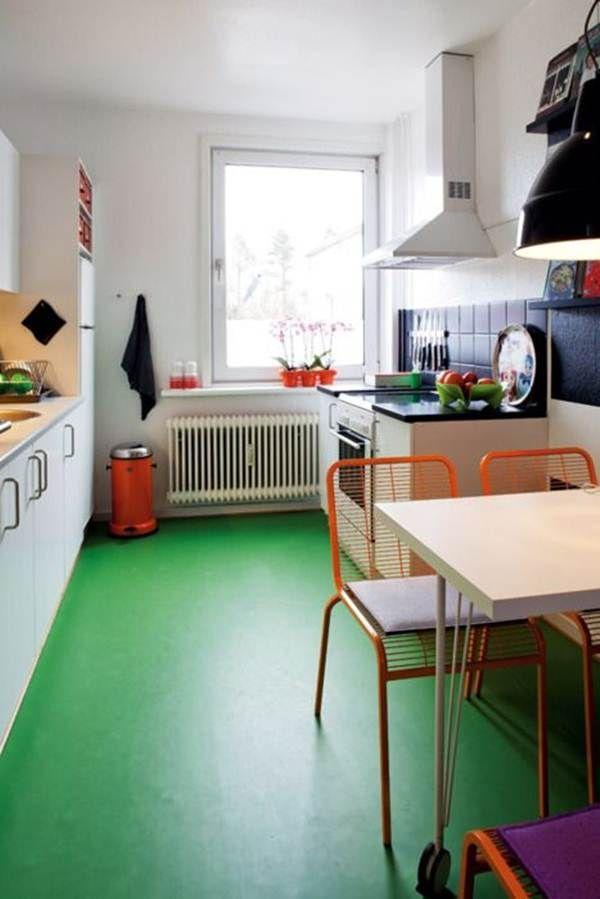 Suelo de linóleo en la cocina