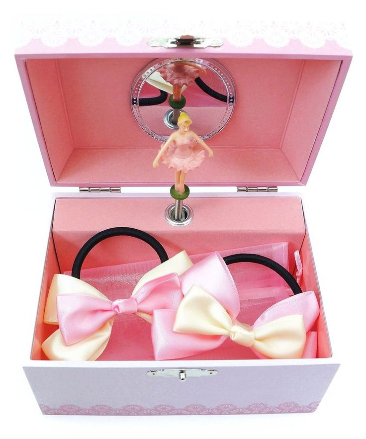 Lily & Ally Flower Ballerina Musical Children's Jewelry Box with Satin Ribbon...