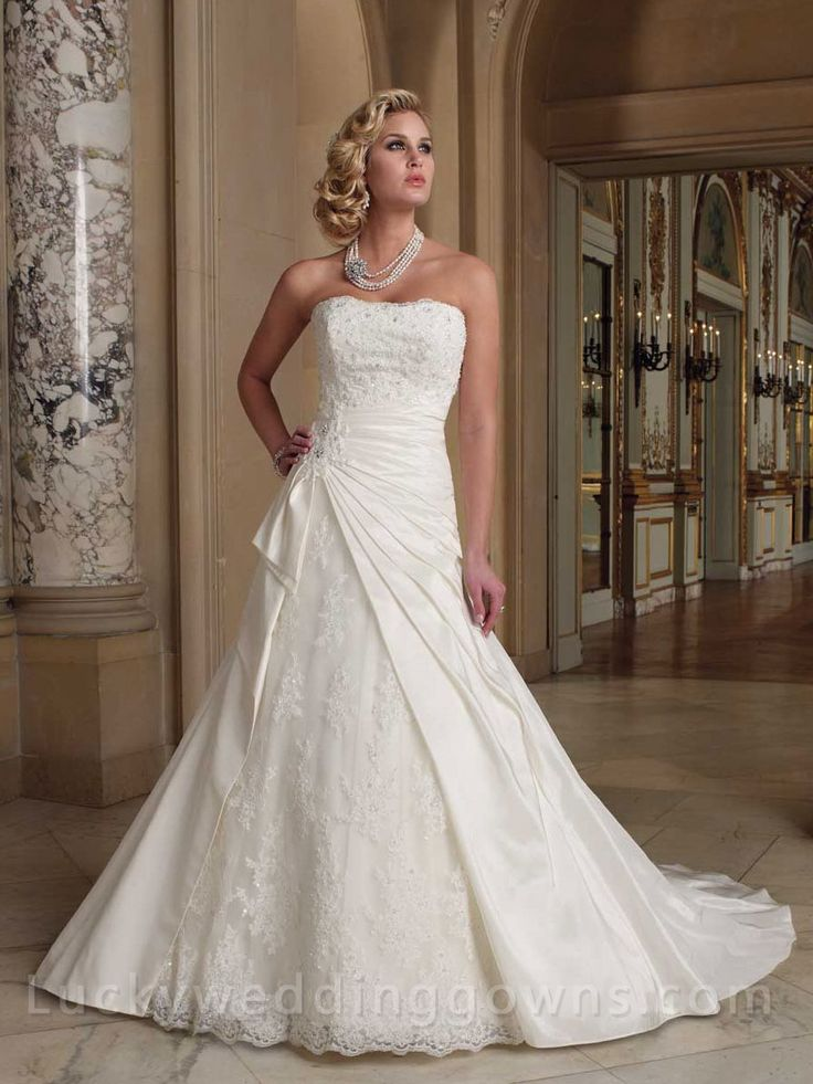 Side Draped Strapless A-Line Wedding Gown with Curved Neckline