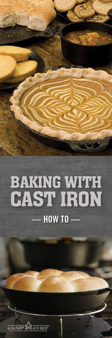 Baking with cast iron isn't as scary as you think. In fact, it's very simple and gives your baked goods (especially pies) an incredible, crisp crust. Forget the aluminum pie tins and break out the cast iron skillets and pie pans. Learn our pro cast iron baking tips right here. http://www.campchef.com/blog/how-to-bake-in-cast-iron/