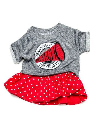 Texas Tech Megaphone Terry Dot Dress – Lil Lu children's apparel - an adorable favorite for game day & everyday!