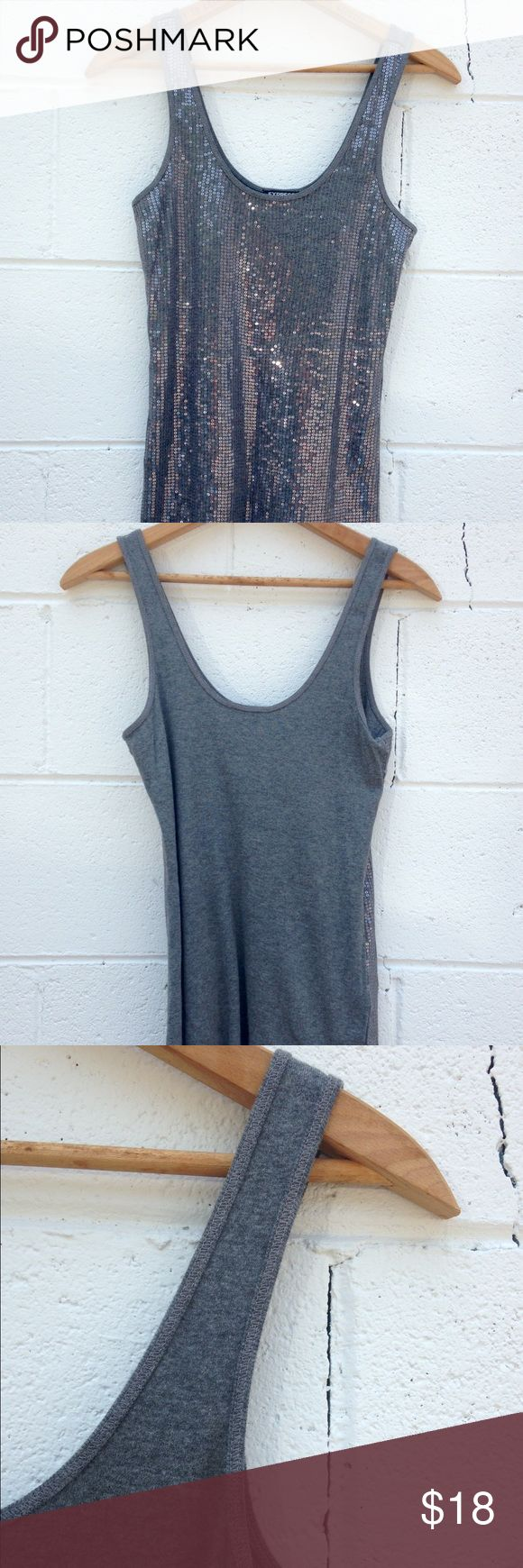 Gray Express Sequence Tank 🐘 X-Long gray tank top with a solid back and sequence on the front. Stretchy material. Paired well with jeans or shorts. Like new condition. Express Tops Tank Tops