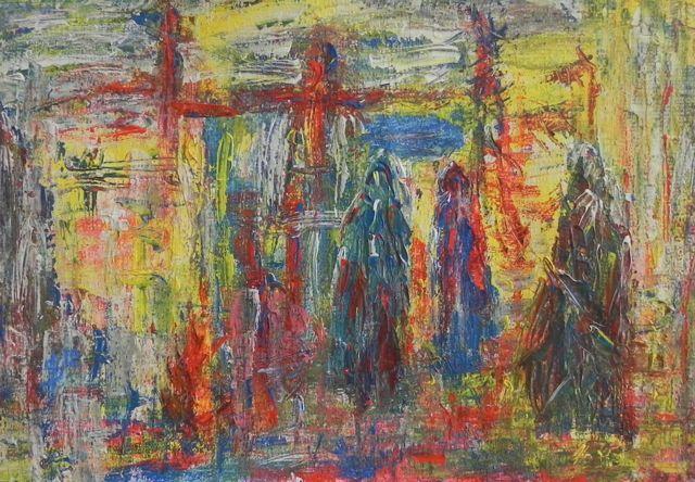 Afscheid | acryl op papier op mdf | ca 56 x 40 cm | © Irka Stachiw #schilderij #acrylic #landscape #soul #impressionism #eternaljourney #goodbye