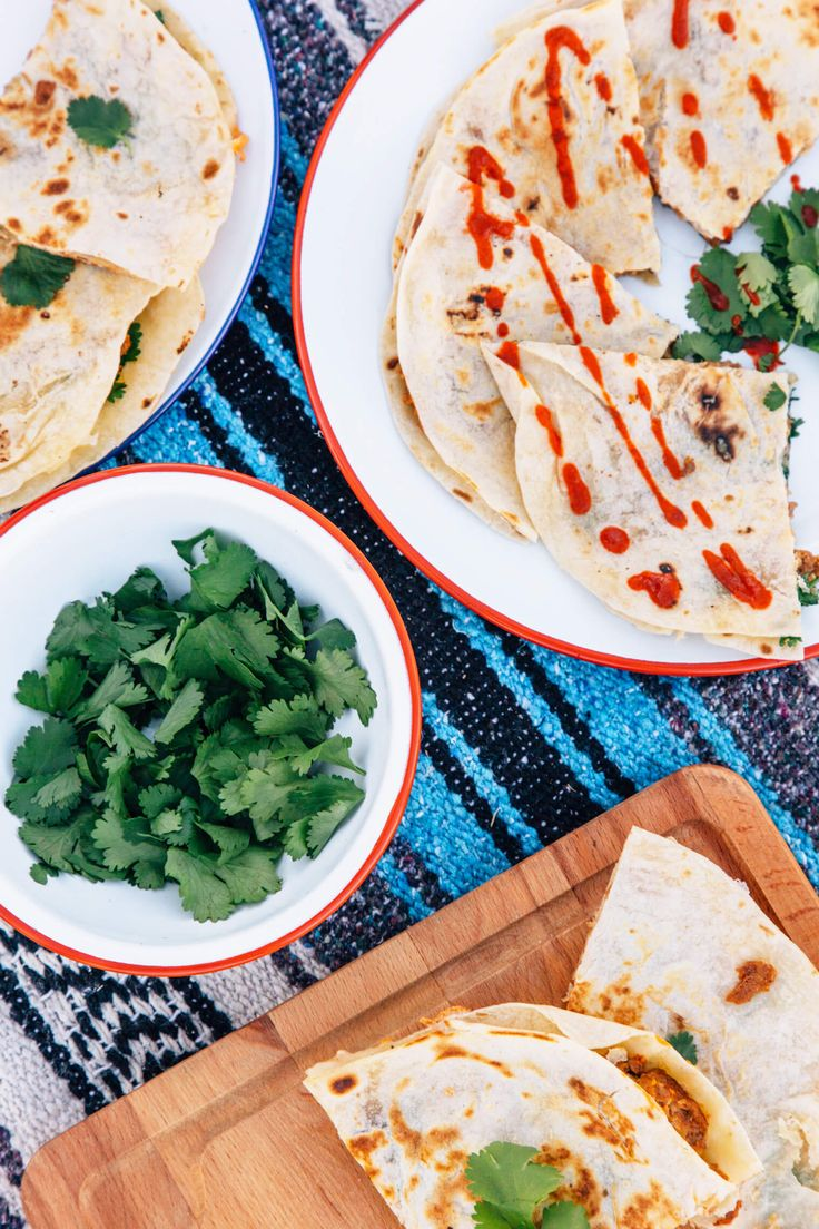 These slightly spicy, protein filled breakfast quesadillas are a fast and easy camping breakfast!