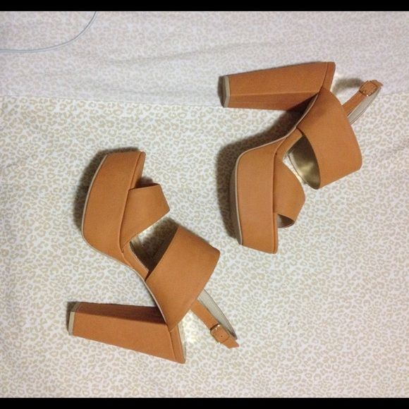 Brown chunky sandal heels Brown chunky sandal heels. Worn once. Defect  shown on last pic. Light weight. Size 8 but fits like 7.5 Shoes Heels
