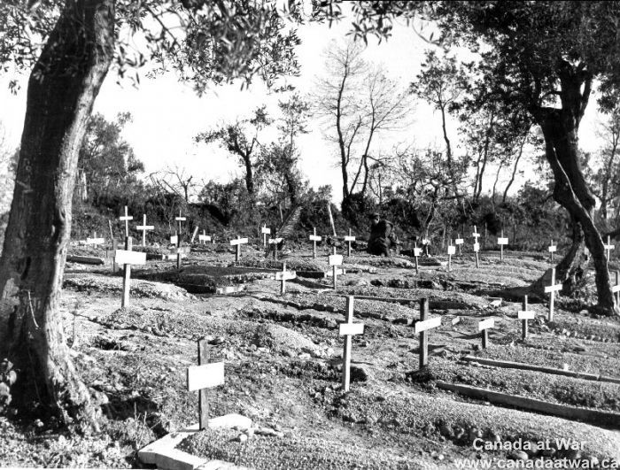 Ortona - Graves of personnel from the Edmonton Regiment killed in the battle of Ortona, 7 January, 1944.