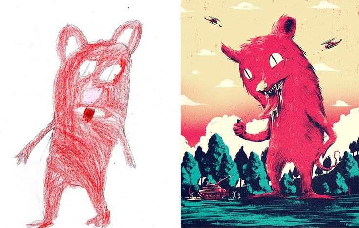 Professional artists re-created children's monster doodles. They're hideously cool.