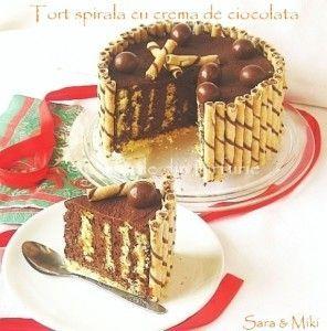 Tort spirala cu crema de ciocolata 0