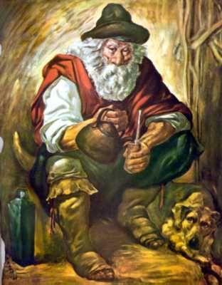 El Gaucho viejo con su mate.